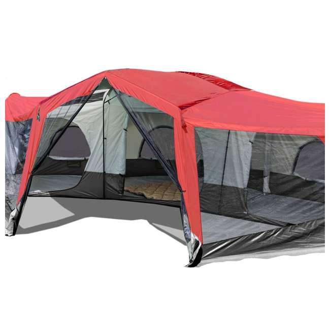 TGT-CARSON-18-B-U-A Tahoe Gear Carson 3 Season 14 Person 25x17.5' Family Cabin Tent, Red (Open Box) 3