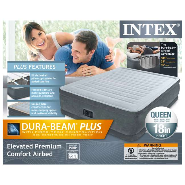 64413E Intex Queen Comfort Plush Elevated Airbed with Built-In Pump 11
