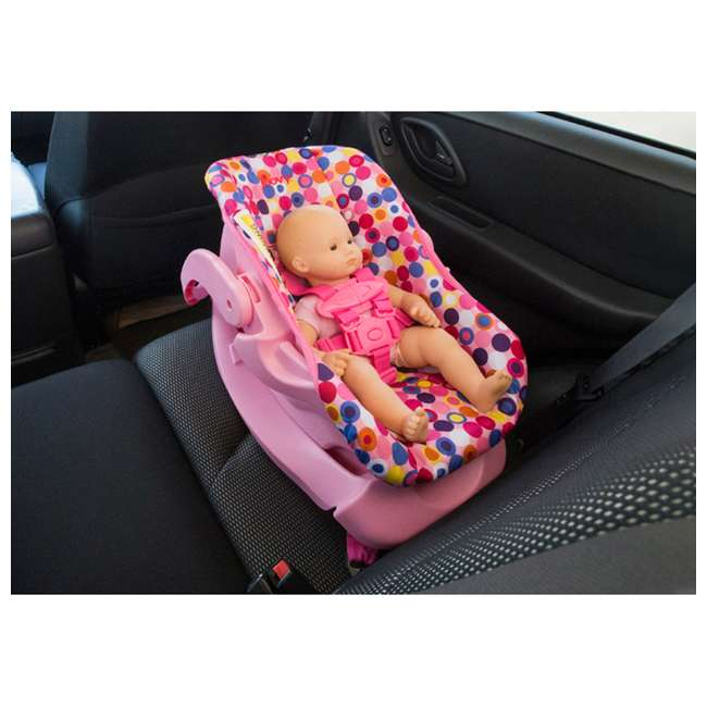 Joovy Toy Doll Caboose Pretend Play Stroller & Car Seat, Pink Dot ...