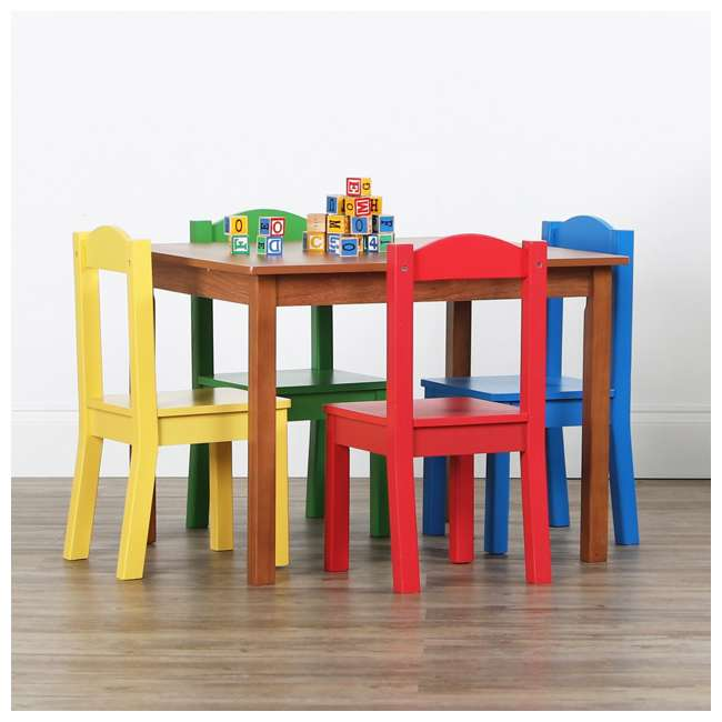 TC633 - Highlight Humble Crew Friends Highlight Collection Cedar Wood Table & 4 Primary Chair Set 3