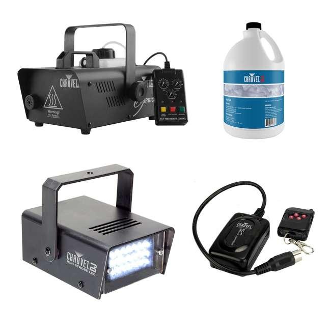 H1200 + FJU + MINISTROBE-LED + FC-W CHAUVET DJ Fog Machine + Fog Juice + Mini Strobe Light + Wireless Remote