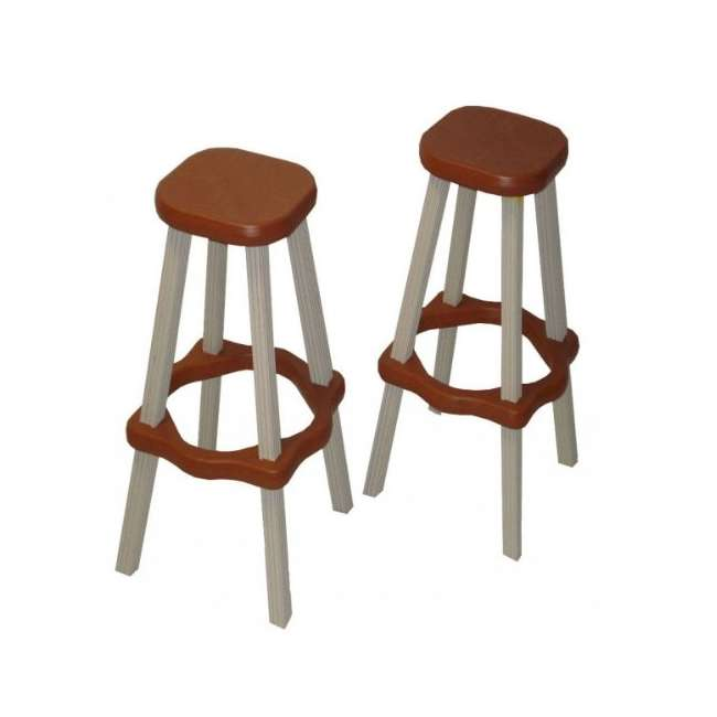 "LABS26-R Leisure Accents 26"" Patio Barstool Set, Redwood/Warm Gray (4 Pack) 1"