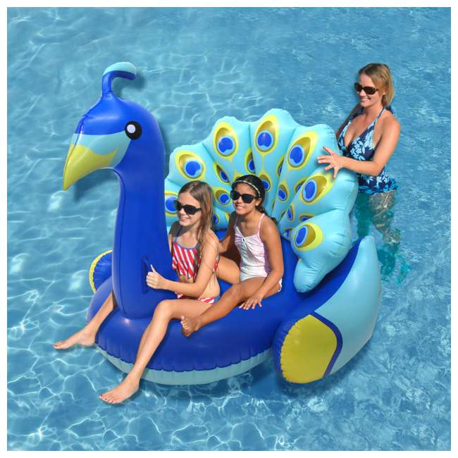 90705 + 56285EP Swimline Inflatable Peacock & Giant Inflatabull Swimming Pool Float Ride On 4