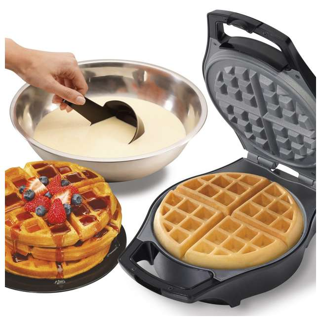 26042 Hamilton Beach 26042 Nonstick Mess Free Belgian Waffle Maker Iron w/ Measure Cup 4
