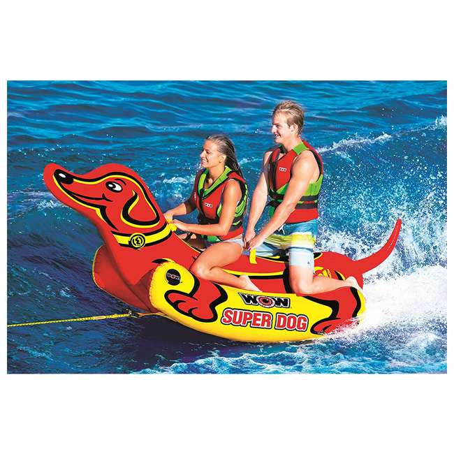 19-1160 WOW Watersports 19-1160 Super Dog 2 Person Towable Tube w/ Handles, Yellow & Red 2