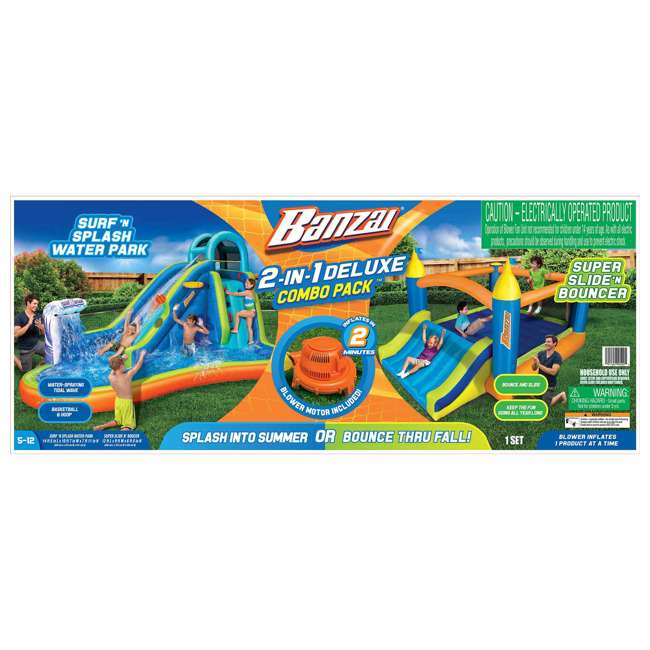 BAN-99522 Banzai Deluxe 2 in 1 Water Park and Bounce House Combo Pack  5