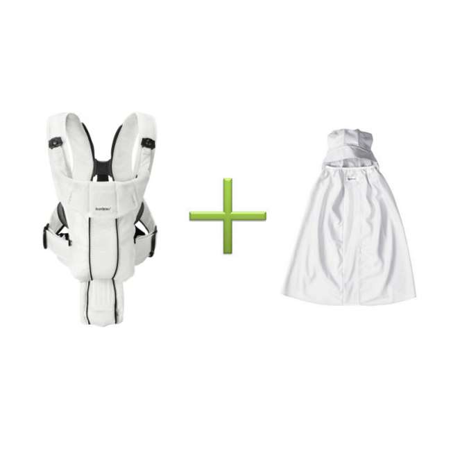 Synergy-WHITE + Sun-Cover BabyBjorn Baby Carrier Active - White, Mesh & Sun Cover