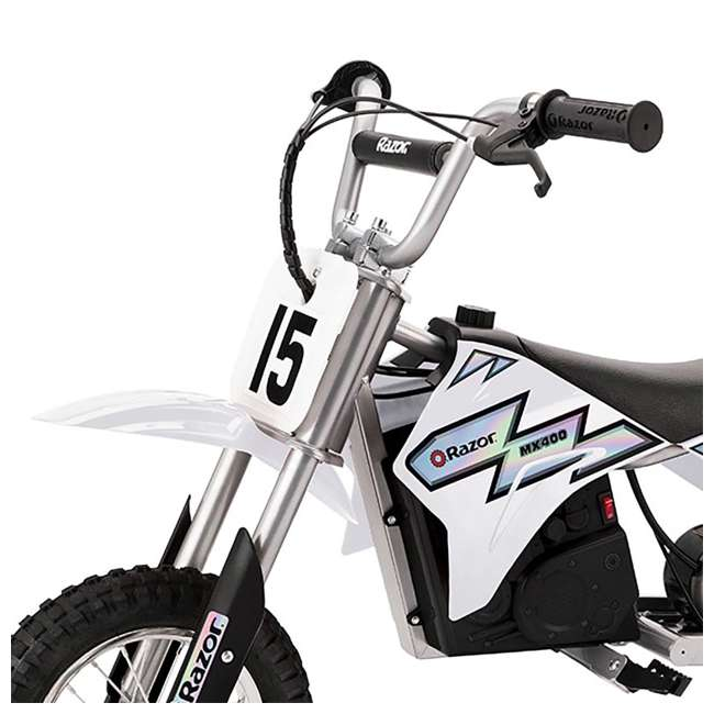 15128008 + 97775 Razor MX400 Dirt Rocket Electric Motorcycle, White + Helmet 4