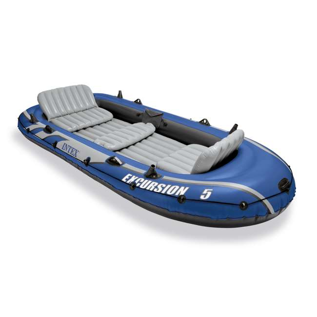 3 x 68325VM-U-A Intex Excursion 5 Person Inflatable Fishing Boat Set w/ Oars & Pump (Open Box) (3 pack)