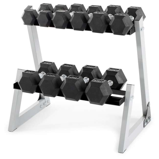 WDBKR20016 Weider 200 Pound Rubber Hex Dumbbell Weight Set with Weight Rack