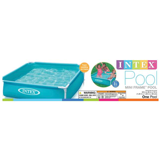 3 x 57173EP-U-A Intex Mini Frame Kiddie 4 x 4 Foot Beginner Frame Pool, Blue  (Open Box) (3 Pack) 2