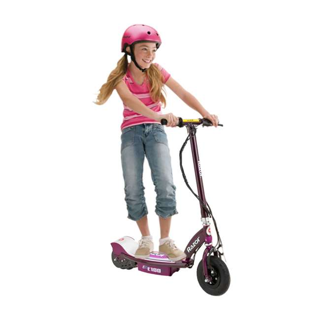 13111250 + 2 x 97778 Razor E100 Electric Scooters, Purple (2 Pack) + Helmets 4