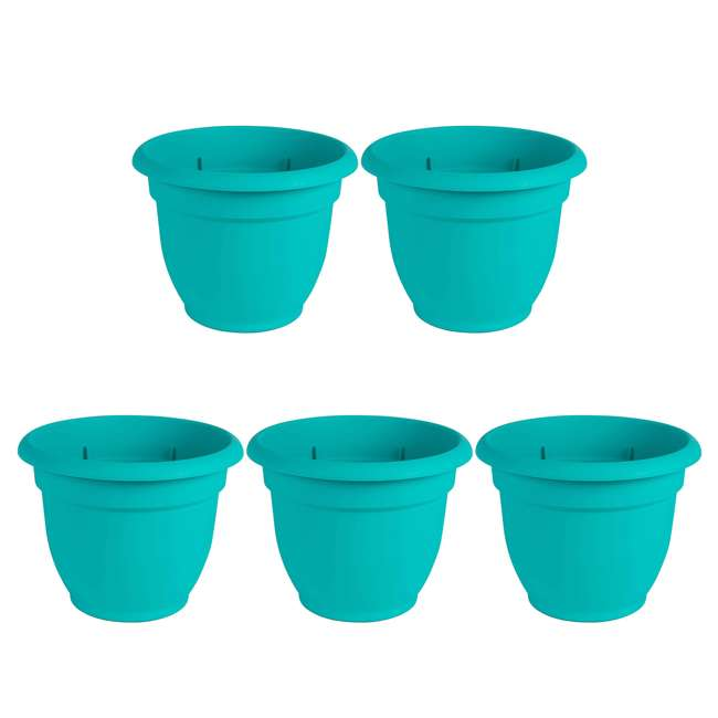 5 x AP1627 Bloem Ariana 16 Inch Indoor & Outdoor Self Watering Planter Pot, Blue (5 Pack)