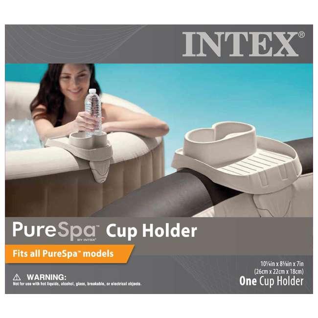 28403VM + 28500E + 28501E Intex PureSpa 4 Person Inflatable Spa Portable Hot Tub with Cupholder & Headrest 8