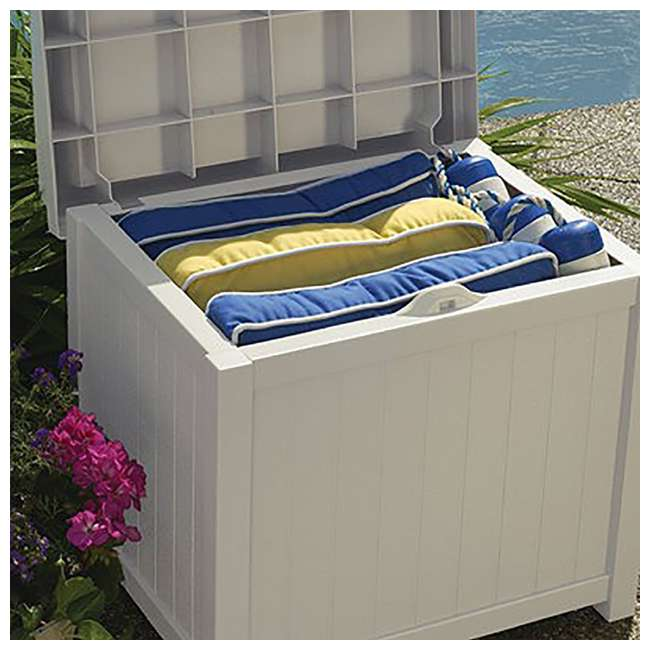 SS1000 Suncast 22-Gallon Outdoor Deck Box with Seat, Light Taupe (2 Pack) 3