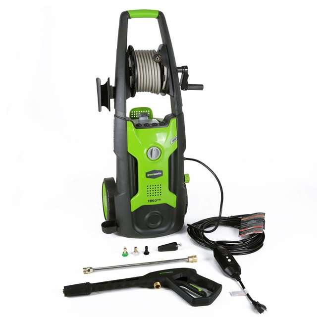 GW-5100302 Greenworks 5100302 Electric High Pressure Washer with 25 Foot Hose Reel, Green