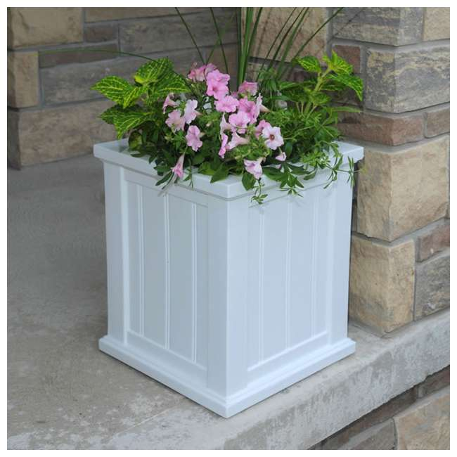 MO-4837-W Mayne Cape Cod Large 16 In Square Plastic Outdoor Flower Pot Planter Box, White 2