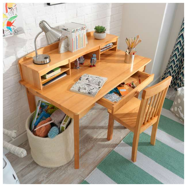 26707 KidKraft Avalon Wooden Kids Room Study Desk with Hutch & Chair Set, Natural 5