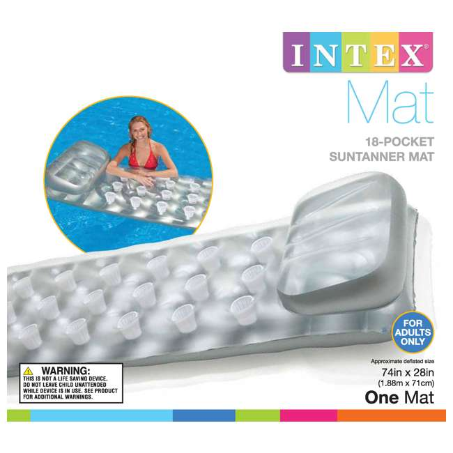 6 x 58894EP INTEX  18-Pocket Suntanner Lounge Floating Lounger  |   (Open Box) (6 Pack) 3
