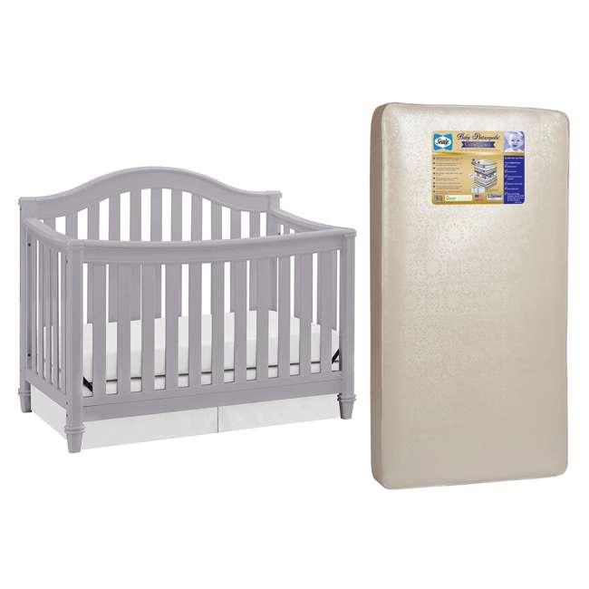 04565-40F + EM642-PHN1 Thomasville Kids Auburn Crib, Pebble Gray & Sealy Posturepedic Mattress
