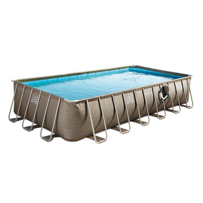 P42412525167 + 2 x K10423D00167 + KF0226B00167 Summer Waves 24 Foot Wicker Pool w/ Inflatable Corona Float (2 Pack) & Cooler 1