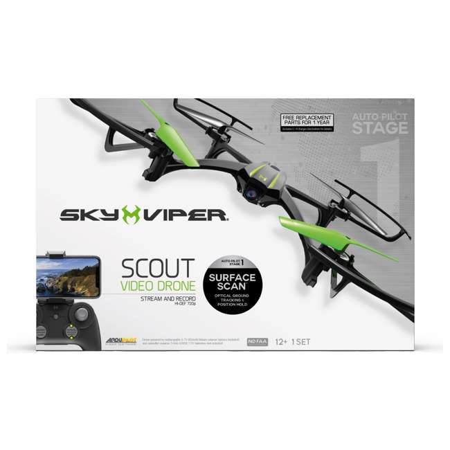 SKY-01848 Sky Viper Scout Kids HD 720p Streaming Video Quadcaopter Drone with Battery Included 5