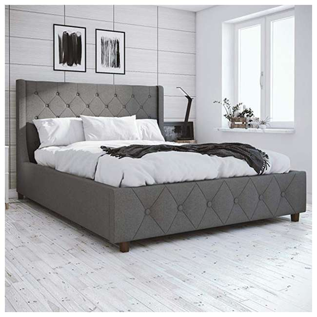 4238429 Dorel 4238429 CosmoLiving Mercer Upholstered Bed Frame Full Size, Gray Linen 3
