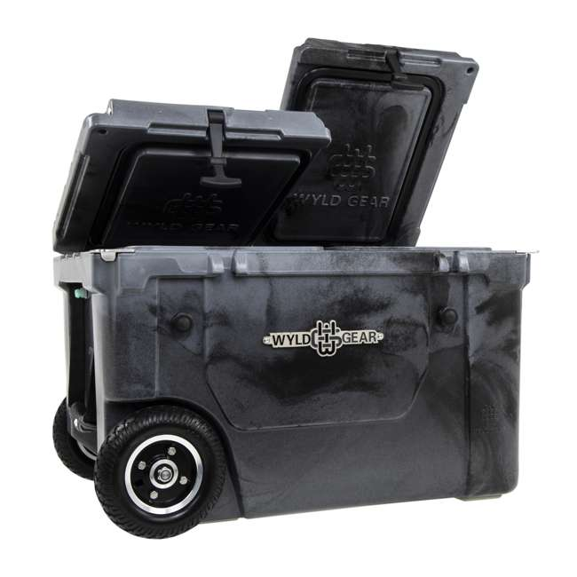 HC50-SB WYLD HC50-SB 50 Qt. Dual Compartment Insulated Cooler w/ Wheels, Black/Silver