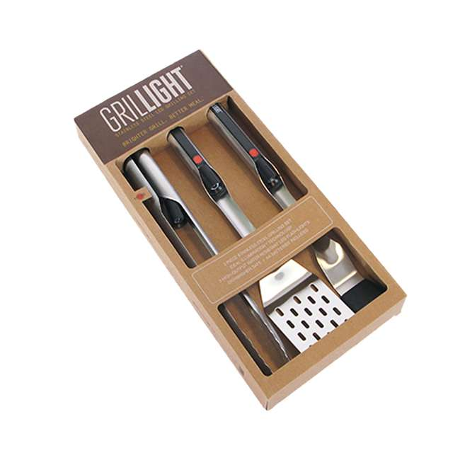 1300828-U-A Grillight LED Flashlight Spatula,Tongs & Basting Brush Grill Set (Open Box)