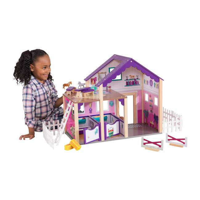 63602 KidKraft Kids Deluxe Toy Horse Stable Wooden Barn Doll House Play Set with Fence 1
