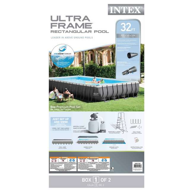 "26371EH + K905CBX Intex 32' x 16' x 52"" Ultra Frame Rectangular Swimming Pool Set w/ Butterfly Vac 5"