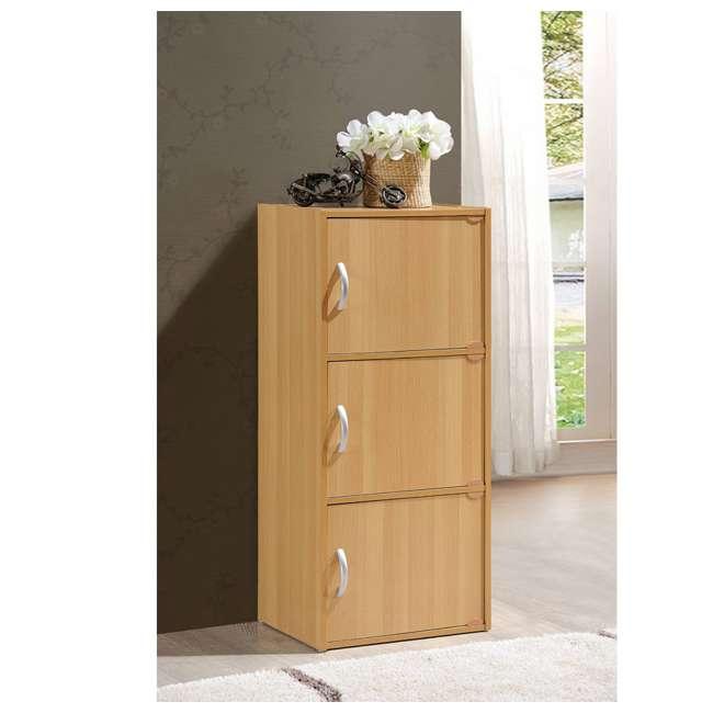 HID3 BEECH Hodedah 3 Door Enclosed Multipurpose Storage Cabinet for Home or Office, Beech 1