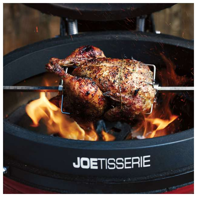 BJ24RHC + BJ-TISSERIENA Kamado Joe Outdoor Ceramic Charcoal Grill with Spit Rod and Forks Rotisserie 6