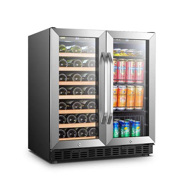 LW3370B Lanbo Lockable Large Built In 33 Bottle/70 Can Wine and Beverage Refrigerator 1