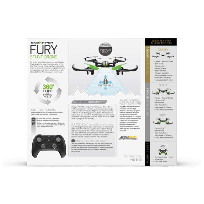 SKY-01943-U-A Sky Viper Fury Stunt RC Hobby Drone Quadcopter with Auto Pilot (Open Box) 5