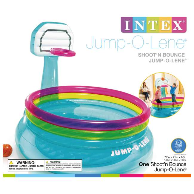 48265EP Intex Shoot N Bounce Jump O Lene Indoor Kids Basketball Hoop Inflatable Bouncer 4