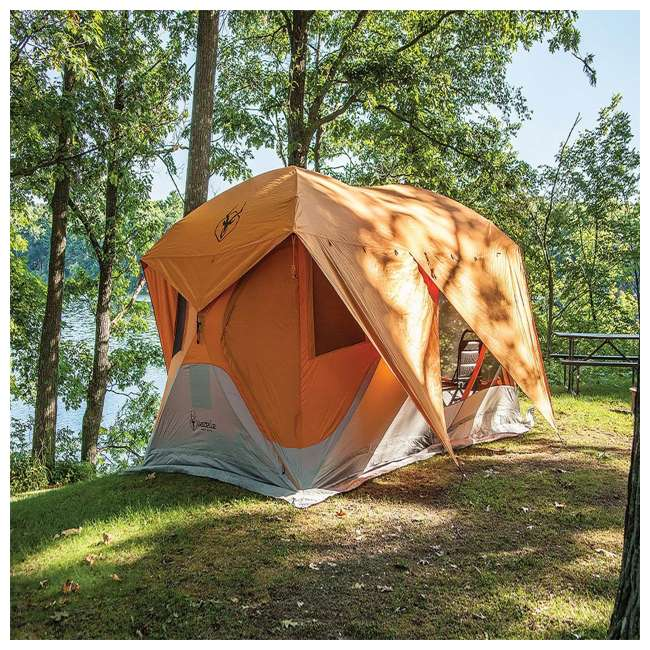 GAZL-26800-U-B Gazelle Tents T4 Plus Outdoor Pop Up 8 Person Hub Tent with Screen Room, Orange 3