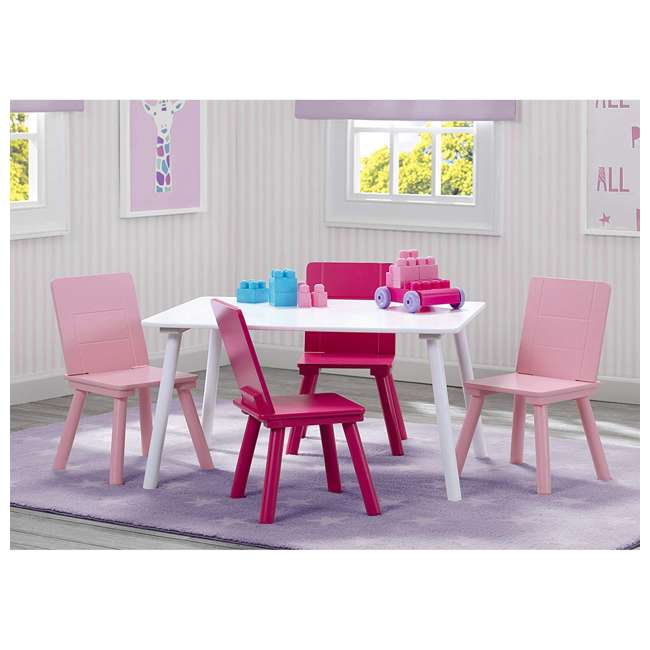 TT87413GN-130 Delta Children Kids Wooden Play Activity Table and 4 Chair Set, White & Pink 4