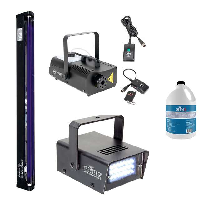 VF1300 + FJU + MINISTROBE-LED + BLACK-48BLB American DJ Mobile Fog Machine w/ Mini Strobe Light, Black Light & Fog Juice