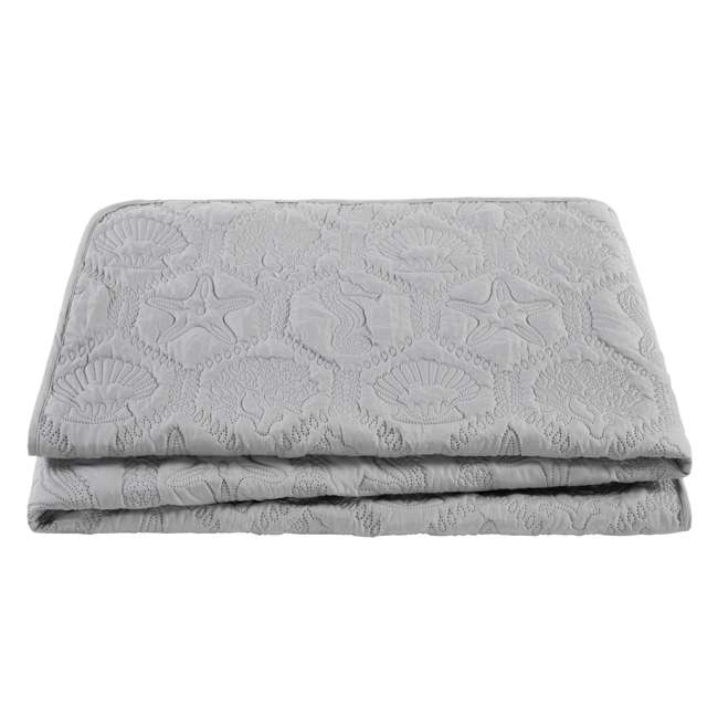 SHO-3QT-QUEN-IN-GV VCNY Home Shore Gray 3 Piece Reversible Bed Quilt and 2 Pillow Shams Set, Queen 4