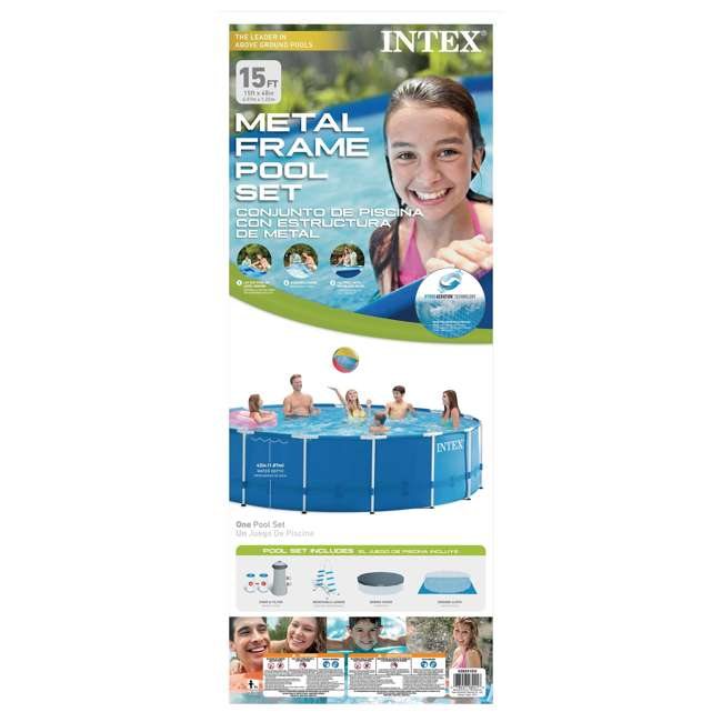 "28241EH-U-A Intex 15' x 48"" Above Ground Pool Set w/ Pump Cover&Ladder(Open Box) (2 Pack) 8"