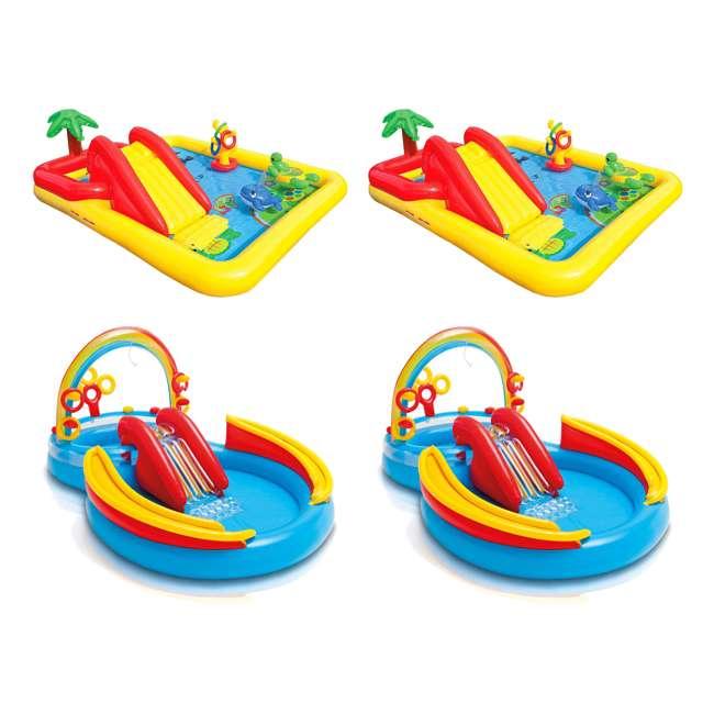 57454EP + 2 x 57453EP Intex Inflatable Ocean Kiddie Pool (2 Pack) & Intex Rainbow Ring Pool (2 Pack)