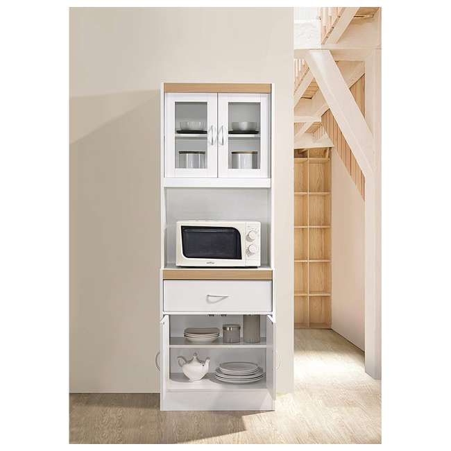 HIK96 WHITE Hodedah Freestanding Kitchen Storage Cabinet w/ Open Space for Microwave, White 3