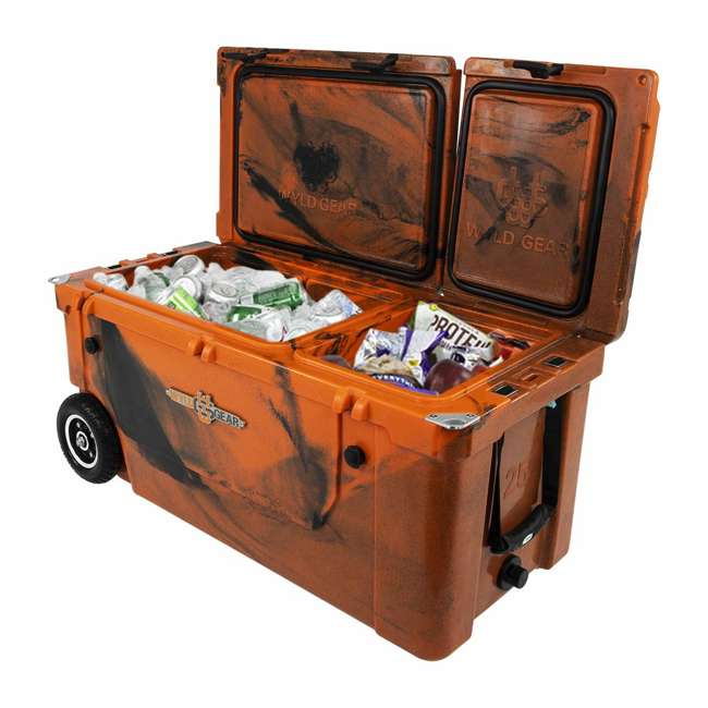 HC75-17OB WYLD 75 Quart Pioneer Dual Compartment Insulated Cooler w/ Wheels, Orange/Black 2