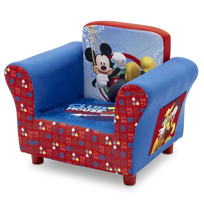 UP83509MM-1051 Delta Children Disney Mickey Mouse Upholstered Toddler Chair with Side Pockets 2