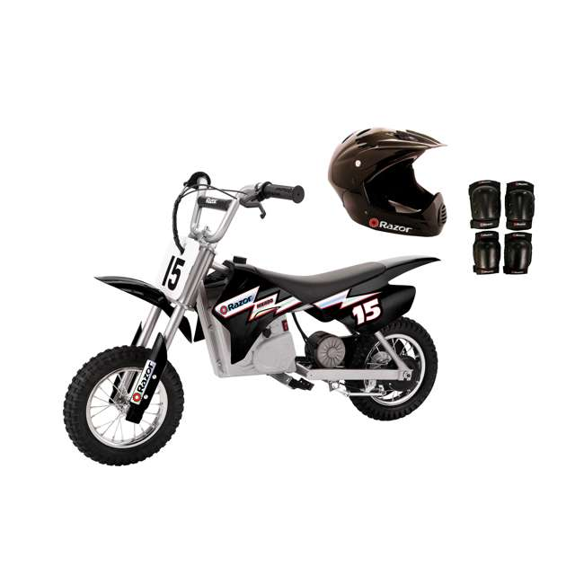 15128099 + 97775 + 96785 Razor MX350 Dirt Rocket Bike with Helmet, Elbow & Knee Pads