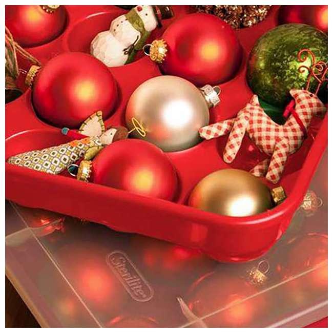 "18 x 19766606-U-A Sterilite 20 Compartment 3"" Ornament Storage Case w/ Lid Red (Open Box)(18 Pack) 4"
