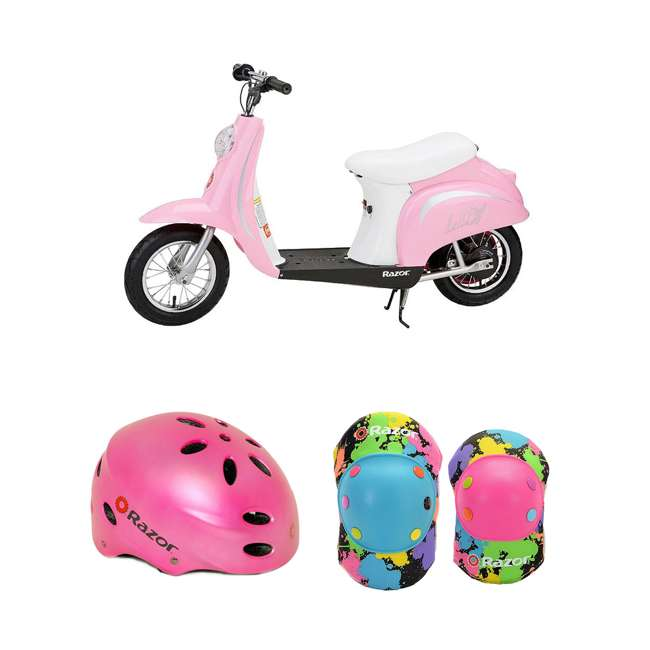 15130610 + 97783 + 96761 Razor Pocket Mod Electric Retro Scooter + Youth Sport Helmet + Elbow & Knee Pads