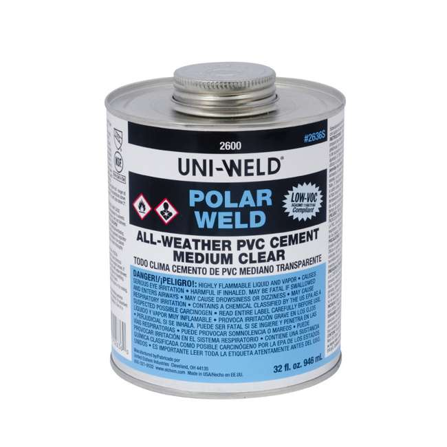2636S Oatey 2600 Uni-Weld Polar-Weld All-Weather PVC Cement, 32 Ounce