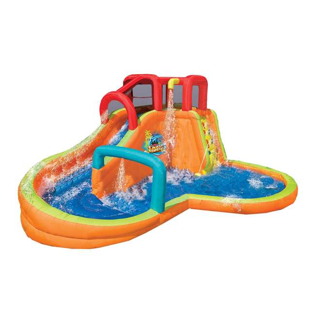 14000 Banzai Kids Inflatable Lazy River Adventure Water Park Slide and Pool (Open Box)